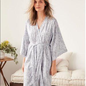 🌿🌷Asian Wrap Cotton Batwing Kimono Rob Robe Gray